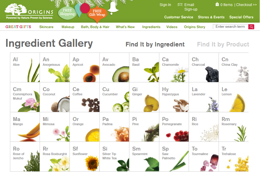 Origins.com ingredient table