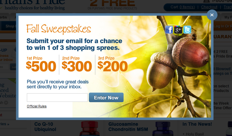 Puritan.com promotions on health stores sweeptakes