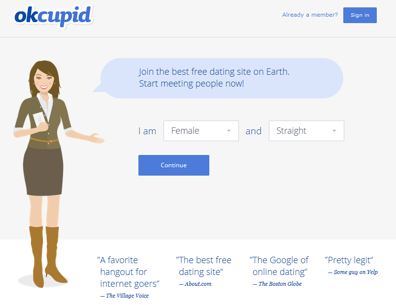 best landing pages, the ok cupid example
