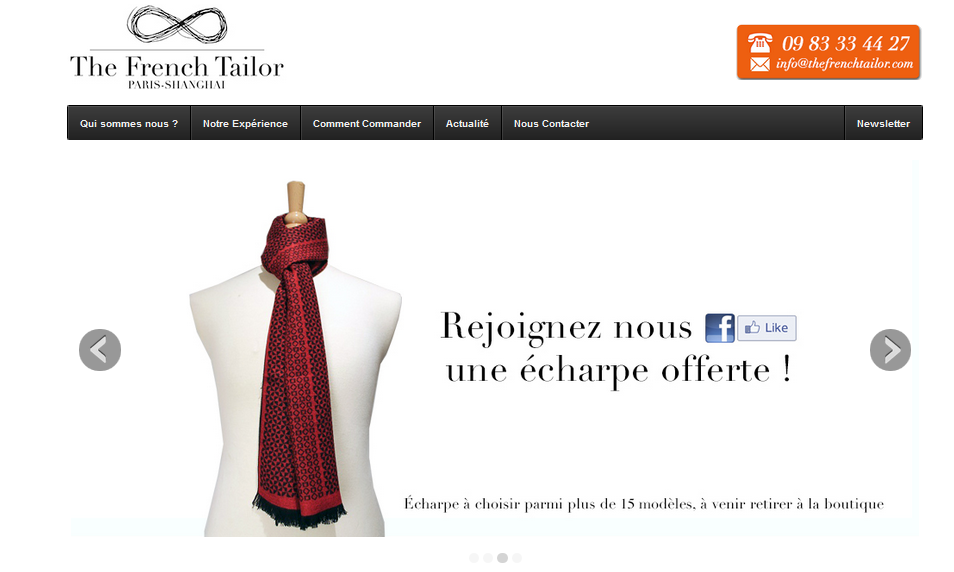 Increase conversions for local businesses - frenchtailor.com example