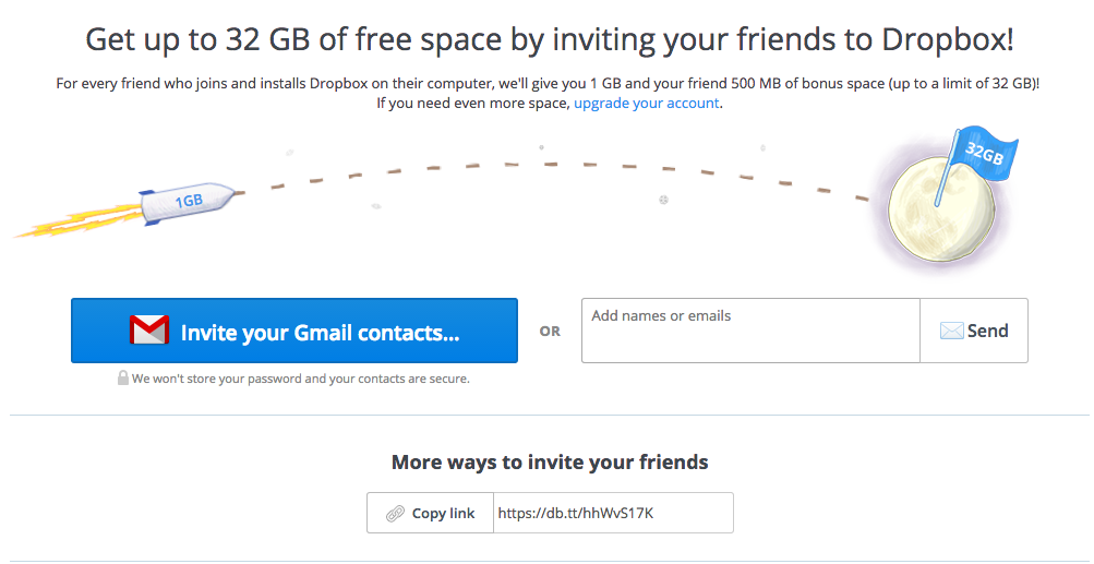 how to get additional space dropbox