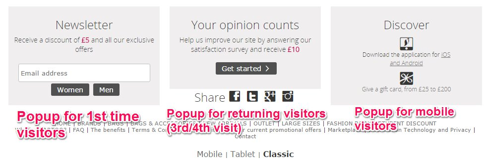 Popups for first-timers and customers