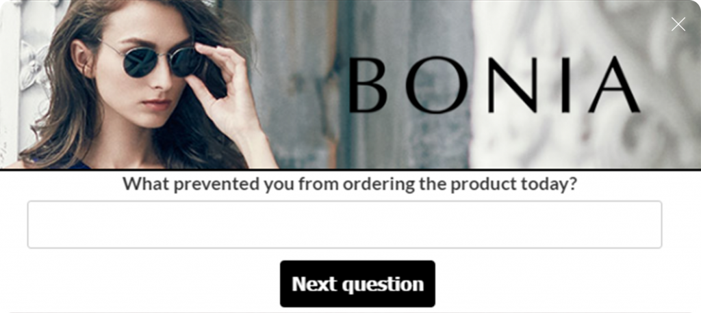 bonia website overlay