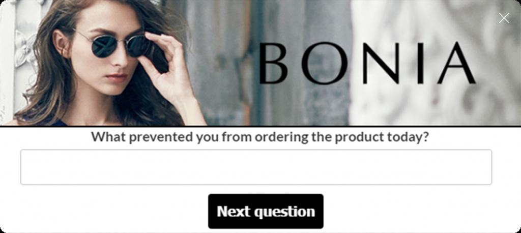 bonia website overlay