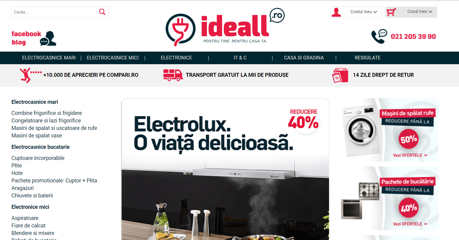 Ideall homepage after