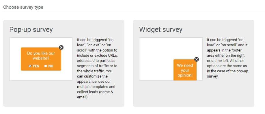 choose survey type