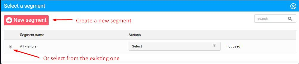 create new select existing segment