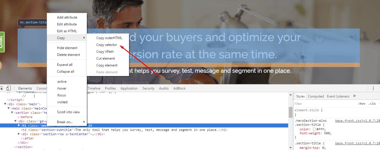 inspect copy selector