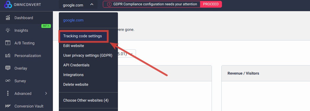 tracking code settings