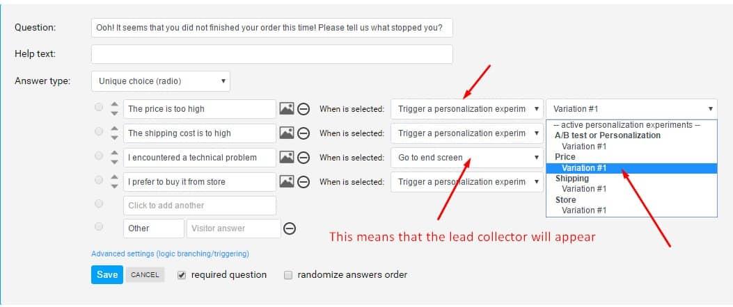 ask survey discount creative settings