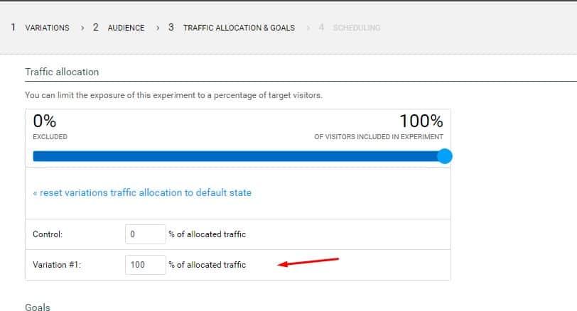 experiment traffic allocation variation