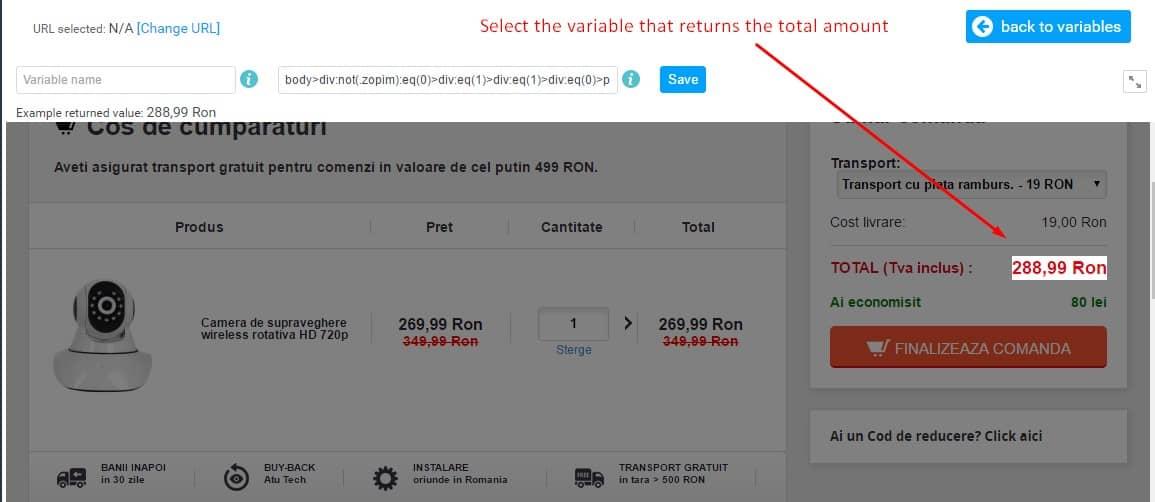 omniconvert return total amount