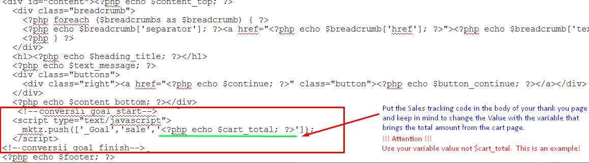 omniconvert sale tracking code